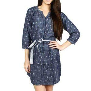 Hatley M Anchor Belted Dress Mini Blue Chambray